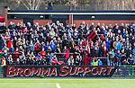 V&auml;llingby 2014-03-30 Fotboll Allsvenskan IF Brommapojkarna - Kalmar FF :  <br /> Brommapojkarnas supporter med banderoll med texten Bromma Support<br /> (Foto: Kenta J&ouml;nsson) Nyckelord:  BP Brommapojkarna Grimsta Kalmar KFF supporter fans publik supporters