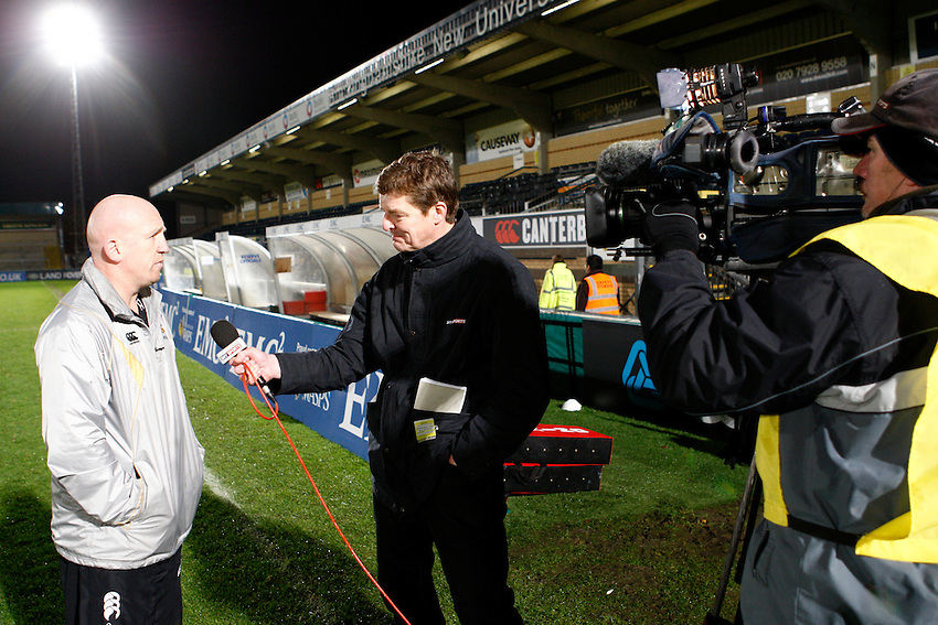 Photo: Richard Lane/Richard Lane Photography. London Wasps v Gloucester Rugby. LV= Cup. 15/11/2009. Wasps' head coach, Shaun Edwards is interviewed by TV.