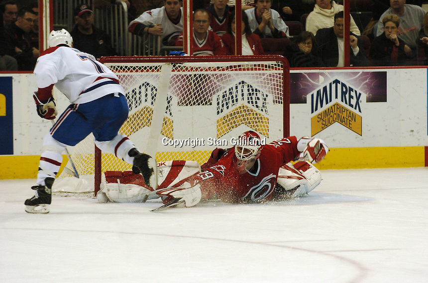 Montreal Canadiens' Michael Ryder, left, shoots on the Carolina Hurricanes' goaltender Martin Gerber (29) during their game Saturday, Dec. 31, 2005 in Raleigh, NC. Carolina won 5-3.
