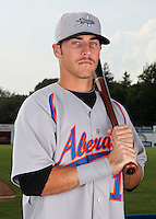 Aberdeen Ironbirds outfielder Trent Mummey (12) poses for a photo before a game vs. the Batavia Muckdogs at Dwyer Stadium in Batavia, New York;  August 11, 2010.   Batavia defeated Aberdeen 10-1.  Photo By Mike Janes/Four Seam Images