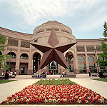 The entrance to the Bob Bullock Texas History Museum, Austin, TX features a large sculpture of the Star of Texas