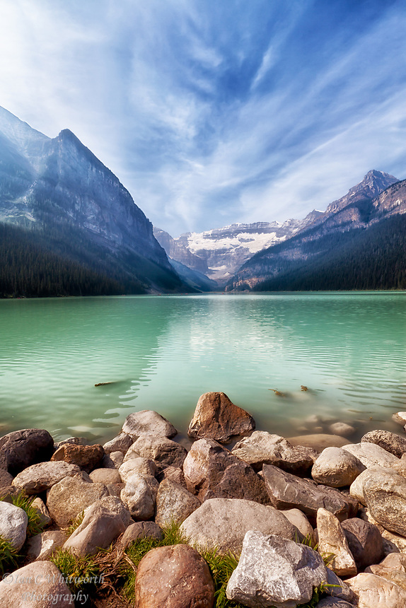 Scenic Lake Louise view with some effect from the BC forest fire smoke.