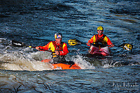 Eric Jackson cheers Dane Jackson during a freestyle kayak training session during the Lyons Outdoor Games 2013