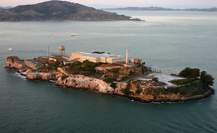 October 29, 2005; San Francisco, CA, USA; Aerial view of Alcatraz Island (below) and Angel Island (top) in San Francisco Bay. Photo by: Phillip Carter