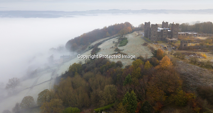 09/11/19<br /> <br /> Surrounded by beautiful autumn colours, Riber castle emerges above an early morning cloud inversion. The mist shrouds a less serene scene below where flood water continues to cause chaos in the Derwent Valley below in Matlock Bath, Derbyshire.<br /> <br /> **Rod Kirkpatrick holds a PfCO and was given permission to fly a drone***<br /> <br /> All Rights Reserved: F Stop Press Ltd.  <br /> +44 (0)7765 242650 www.fstoppress.com