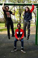 Members of Jack Swing, Isaiah Ross, Rowdy Kanarek, and Jonathan Lightfoot, pose for a portrait in the Lawrenceville neighborhood on Thursday April 18, 2019 in Pittsburgh, Pennsylvania. (Photo by Jared Wickerham/Pittsburgh City Paper)