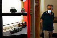 Antique tin coal, steam and electric model trains.<br /> Antique toys exposed at Palazzo Braschi during the Exhibition 'For fun. Collection of antique toys of Capitoline Superintendency'.<br /> Rome (Italy), July 24th 2020