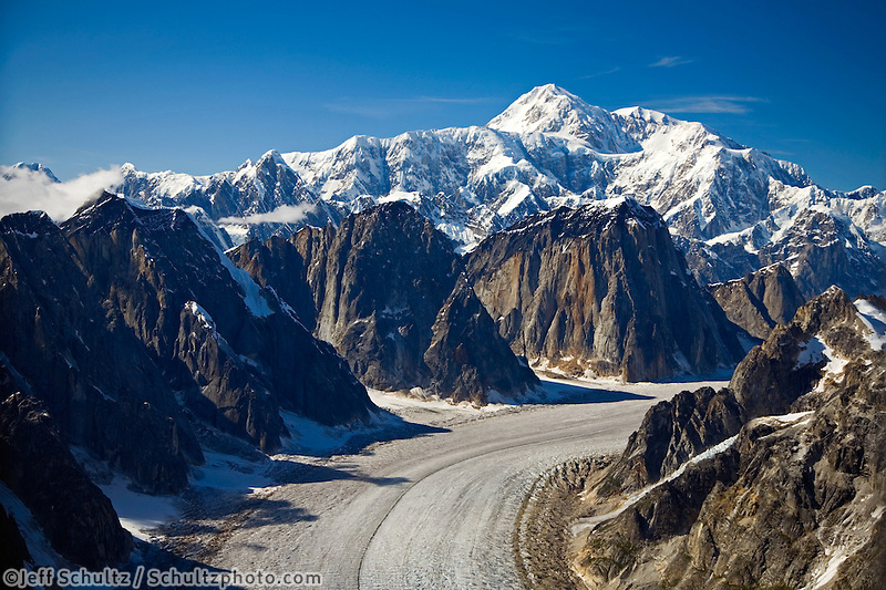 Aerial View Of Great Gorge W/Ruth Glacier Below Mt.Mckinley Alaska Range Denali National Park Alaska