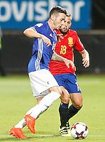 Spain's Jordi Alba (r) and Liechtenstein's Dennis Salanovic during FIFA World Cup 2018 Qualifying Round match. September 5,2016.(ALTERPHOTOS/Acero)