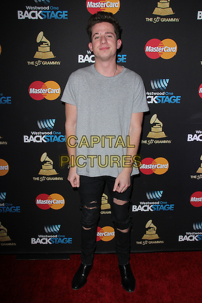 LOS ANGELES, CA - FEBRUARY 12: Charlie Puth at the 2016 Grammys Radio Row Day 1 presented by Westwood One, Staples Center, Los Angeles, California on February 12, 2016.   <br /> CAP/MPI/DE<br /> &copy;DE//MPI/Capital Pictures
