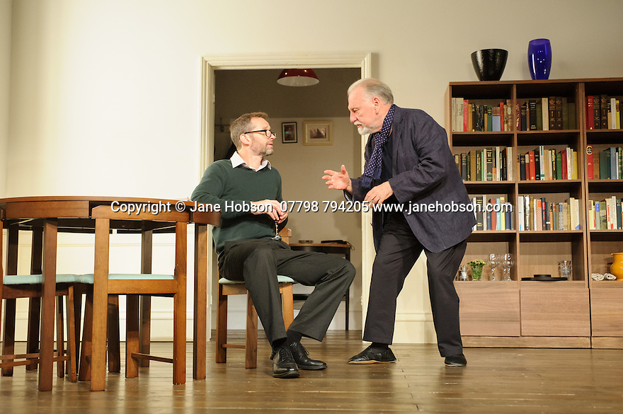 London, UK. 02.10.2015. THE FATHER, written by Florian Zeller, in a new translation by Christopher Hampton, opens at Wyndham's Theatre. Directed by James Macdonald, with lighting design by Guy Hoare, and set and costume design by Miriam Buether. Picture shows: Rebecca Charles (woman), Kenneth Cranham (Andre), Jim Sturgeon (Man). Photograph © Jane Hobson.