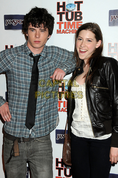 "CHARLIE McDERMOTT & EDEN SHER.""Hot Time Time Machine"" World Premiere Party held at the Cabana Club, Hollywood, California, USA..March 17th, 2010.half length black tie grey gray green check checked shirt leaning shoulder leather jacket white  .CAP/ADM/BP.©Byron Purvis/AdMedia/Capital Pictures."