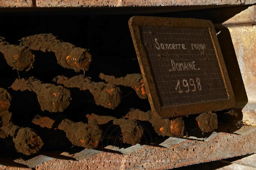Bottles aging in the cellar. Red 1998.  Domaine de la Perriere, Sancerre, Loire, France