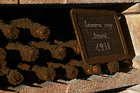 Bottles aging in the cellar. Red 1998.  Domaine de la Perriere, Sancerre, Loire, France