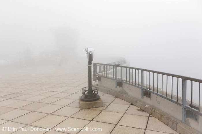 Appalachian Trail - The summit of Mount Washington in the White Mountains of New Hampshire USA during the summer months in heavy fog.