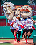 30 July 2017: The Washington Nationals Racing Presidents entertain the fans in between inning of a game against the Colorado Rockies at Nationals Park in Washington, DC. The Rockies defeated the Nationals 10-6 in the second game of their 3-game weekend series. Mandatory Credit: Ed Wolfstein Photo *** RAW (NEF) Image File Available ***