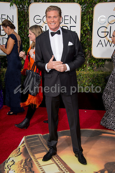 Actor David Hasselhoff attends the 73rd Annual Golden Globe Awards at the Beverly Hilton in Beverly Hills, CA on Sunday, January 10, 2016. Photo Credit: HFPA/AdMedia