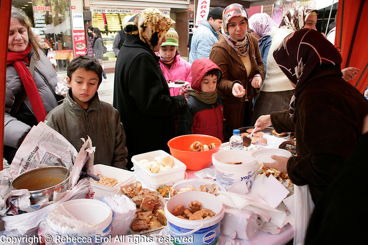 Turkish women selling home produce to raise funds for the Palestinians  in Pendik, Istanbul, Turkey