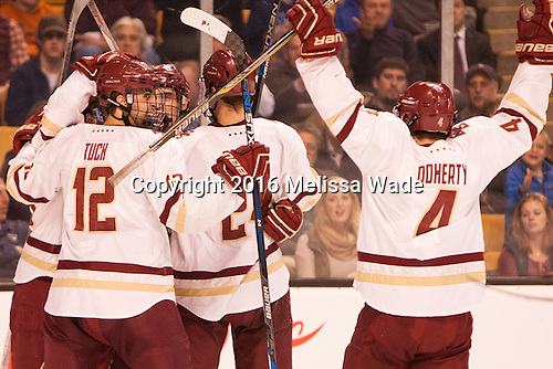 The Eagles celebrate Colin White (BC - 18) goal which stood as the game-winner. - The Boston College Eagles defeated the Harvard University Crimson 3-2 in the opening round of the Beanpot on Monday, February 1, 2016, at TD Garden in Boston, Massachusetts.