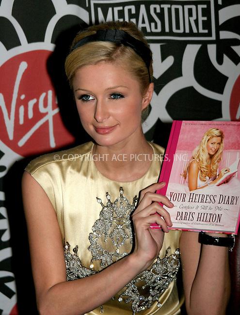 "WWW.ACEPIXS.COM . . . . .  ....NEW YORK, DECEMBER 1, 2005....Paris Hilton signs copies of her book ""Your Heiress Diary: Confess it all to Me"" at the Virgin Megastore.....Please byline: NANCY RIVERA- ACE PICTURES.... *** ***..Ace Pictures, Inc:  ..Craig Ashby (212) 243-8787..e-mail: picturedesk@acepixs.com..web: http://www.acepixs.com"