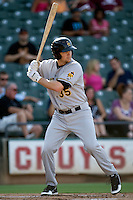 Salt Lake Bees third baseman Jeff Baisley #35 at bat during a Pacific Coast League game against the Round Rock Express at The Dell Diamond in Round Rock, Texas on August 6, 2011. Round Rock defeated Salt Lake 3-1.  (Andrew Woolley/Four Seam Images)