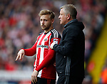 Chris Wilder manager of Sheffield Utd waits to bring on Harry Chapman of Sheffield Utd during the English League One match at  Bramall Lane Stadium, Sheffield. Picture date: April 30th 2017. Pic credit should read: Simon Bellis/Sportimage