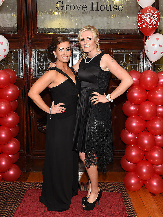 Donna Brady and Elaine Russell pictured at the Valentine Ball in the Grove House Dunleer. Photo:Colin Bell/pressphotos.ie