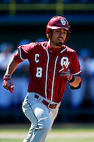 Jack Mayfield #8 of the Oklahoma Sooners runs the bases against the UCLA Bruins at Jackie Robinson Stadium on March 9, 2013 in Los Angeles, California. (Larry Goren/Four Seam Images)