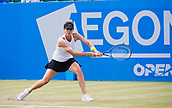 June 14th 2017, Nottingham,  England; WTA Aegon Nottingham Open Tennis Tournament day 5;  Two handed backhand from Tsvetana Pironkova of of Bulgaria