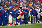 San Francisco 49ers tight end Vernon Davis (85) scores the opening touchdown during an NFC Championship NFL football game against the New York Giants on January 22, 2012 in San Francisco, California. The Giants won 20-17 in overtime. (AP Photo/David Stluka)