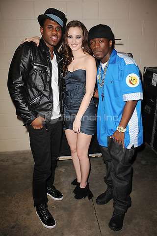 SUNRISE, FL - DECEMBER 12 : Jason Derulo Leighton Meester and Iyez pose backstage at the Y-100 Jingle ball held at the Bank Atlantic center on December 12, 2009 in Fort Lauderdale Florida. Credit: mpi04/MediaPunch