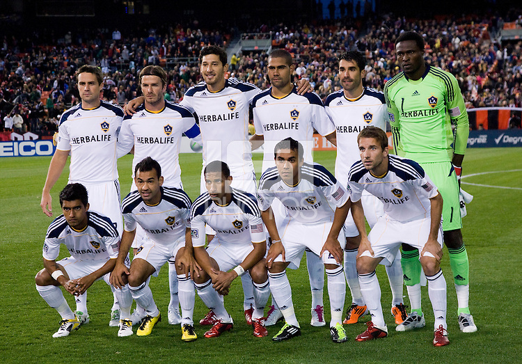 The LA Galaxy line up before the game at RFK Stadium.  D.C. United tied the LA Galaxy, 1-1.