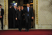 Baden-Baden, Germany - April 4, 2009 -- Heads of State and Government arrive for a Working Dinner at the NATO Summit in Baden-Baden, Germany on Saturday, April 4, 2009.   From left to right: Angela Merkel, Chancellor of the Federal Republic of Germany and Barack H. Obama,  President of the United States of America.Mandatory Credit: NATO via CNP