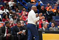 NWA Democrat-Gazette/CHARLIE KAIJO Arkansas Razorbacks head coach Mike Anderson reacts during the Southeastern Conference Men's Basketball Tournament semifinals, Saturday, March 10, 2018 at Scottrade Center in St. Louis, Mo. The Tennessee Volunteers knocked off the Arkansas Razorbacks 84-66