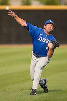 Michael Seander #23 of the Duke Blue Devils throws in the outfield at the Wake Forest Baseball Park April 23, 2010, in Winston-Salem, NC.  Photo by Brian Westerholt / Sports On Film