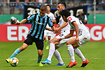 11.08.2019, Carl-Benz-Stadion, Mannheim, GER, DFB Pokal, 1. Runde, SV Waldhof Mannheim vs. Eintracht Frankfurt, <br /> <br /> DFL REGULATIONS PROHIBIT ANY USE OF PHOTOGRAPHS AS IMAGE SEQUENCES AND/OR QUASI-VIDEO.<br /> <br /> im Bild: Gianluca Korte (SV Waldhof Mannheim #17) gegeb Filip Kostic (Eintracht Frankfurt #10) und Makoto Hasebe (Eintracht Frankfurt #20)<br /> <br /> Foto © nordphoto / Fabisch