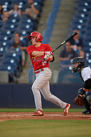 Palm Beach Cardinals second baseman Andy Young (15) follows through on a swing in front of catcher Sharif Othman (62) during a game against the Tampa Yankees on July 25, 2017 at George M. Steinbrenner Field in Tampa, Florida.  Tampa defeated Palm beach 7-6.  (Mike Janes/Four Seam Images)