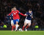23rd March 2018, Hampden Park, Glasgow, Scotland; International Football Friendly, Scotland versus Costa Rica; Bryan Ruiz of Costa Rica and John McGinn of Scotland