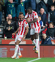 Eric Maxim Choupo-Moting of Stoke City celebrates his second goal with Kurt Zouma of Stoke City during the Premier League match between Stoke City and Manchester United at the Britannia Stadium, Stoke-on-Trent, England on 9 September 2017. Photo by Andy Rowland.