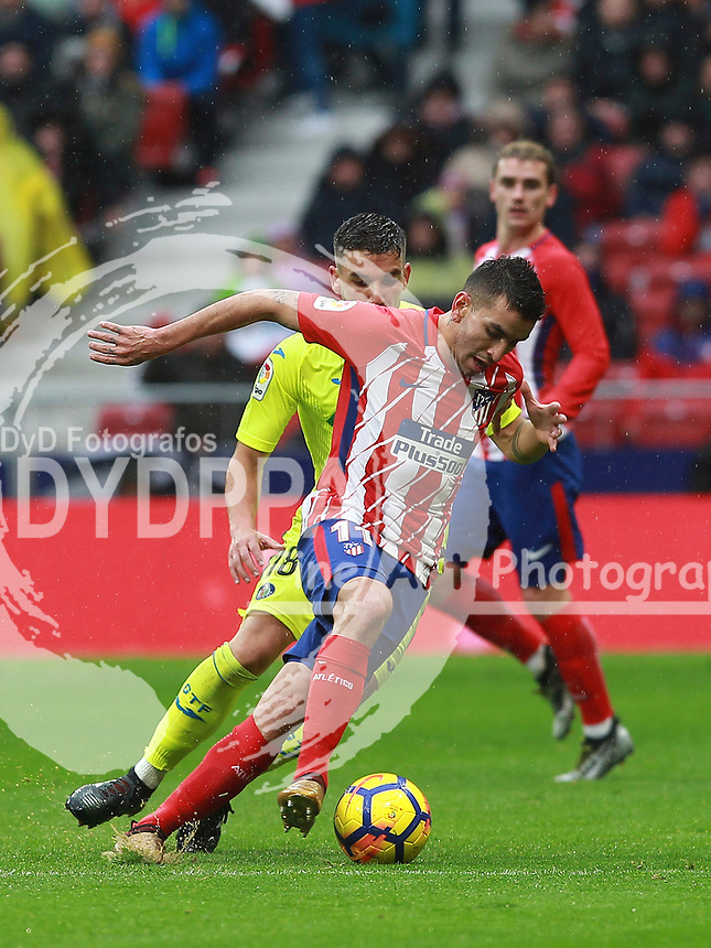 Atletico Madrid's Argentinian forward Angel Correa&nbsp;<br /> <br /> Atletico de Madrid vs Getafe Spanish League football match, La Liga Santander, at Wanda Metropolitano stadium in Madrid on January 6, 2017