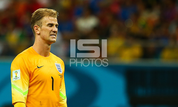 Joe Hart of England shows a look of dejection