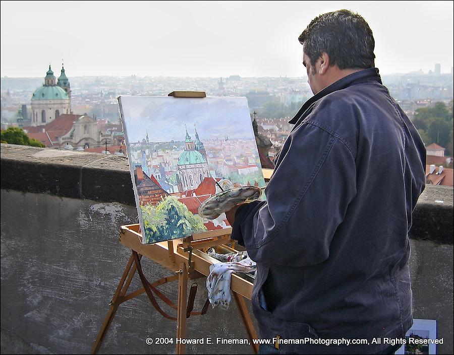 Artist at Prague Castle, painting St. Nicholas Church