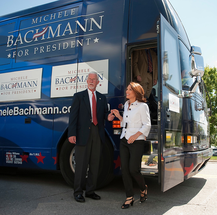 UNITED STATES - AUGUST 11:  Rep. Michele Bachmann, R-Minn., arrives outside of Stephens Auditorium at Iowa State University to do a walk through of the Republican presidential debate that will happen this evening in Ames, Iowa.  The debate will feature eight republican candidates including Bachmann.   (Photo By Tom Williams/Roll Call)