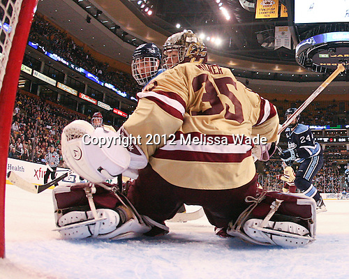 Joey Diamond (Maine - 39), Parker Milner (BC - 35) - The Boston College Eagles defeated the University of Maine Black Bears 4-1 to win the 2012 Hockey East championship on Saturday, March 17, 2012, at TD Garden in Boston, Massachusetts.
