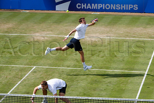 15.06.12 Queens Club, London, ENGLAND: ..NESTOR, Daniel (CAN) hits a back hand..MIRNYI, Max (BLR)/NESTOR, Daniel (CAN) versus HEWITT, Lleyton (AUS)/RODDICK, Andy (USA)..during day five of the Aegon Championships at Queens Club ..on June 15, 2012 in London , England.........