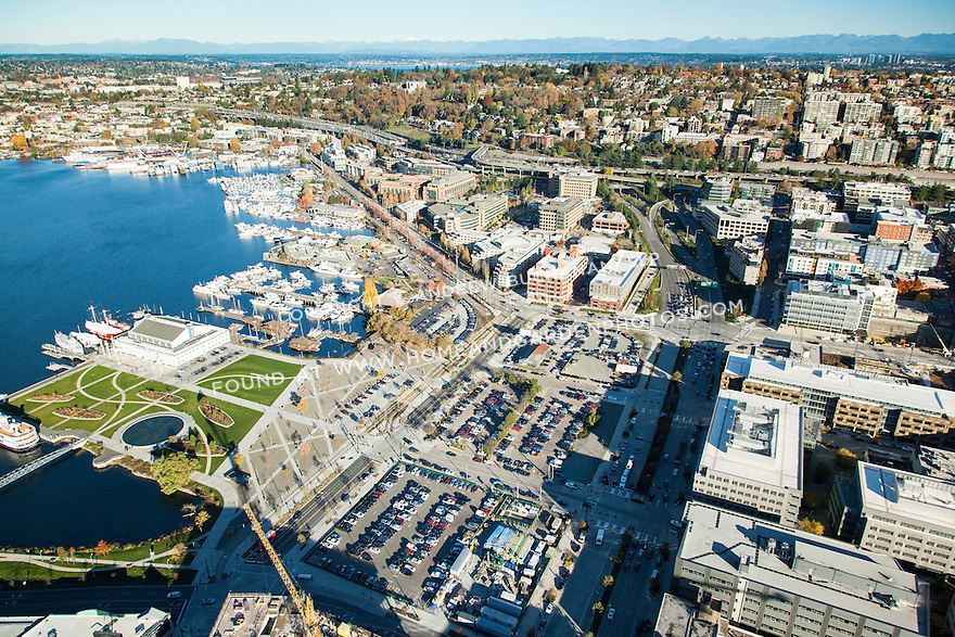 Aerial view of Seattle's growing South Lake Union neighborhood