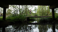 10 MAY 2015 - ST. NEOTS, GBR - A competitor crosses a bridge during the 2015 British Sprint Triathlon Championships at Riverside Park in St. Neots, Great Britain (PHOTO COPYRIGHT © 2015 NIGEL FARROW, ALL RIGHTS RESERVED)