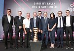 L-R Alberto Contador, 2008 and 2015 Giro d'Italia winner, Yariv Levin, Israel Minister of Tourism, Sylvan Adams, Honorary President Big Start Israel, Mauro Vegni, Giro d'Italia Director, Paolo Bellino, RCS Sport General Manager, Nir Barkat, Mayor of Jerusalem, Miri Regev, Israel Minister of Culture and Sport, Luca Lotti, Italy Minister of Sport and Ivan Basso, 2006 and 2010 Giro d'Italia winner at the launch of the Big Start to be held in Jerusalem, Israel 18th September 2017.<br /> Picture: RCS | Cyclefile<br /> <br /> <br /> All photos usage must carry mandatory copyright credit (&copy; Cyclefile | RCS)