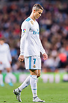 Cristiano Ronaldo of Real Madrid reacts during the La Liga 2017-18 match between Real Madrid and UD Las Palmas at Estadio Santiago Bernabeu on November 05 2017 in Madrid, Spain. Photo by Diego Gonzalez / Power Sport Images