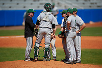 Dartmouth Big Green head coach Bob Whalen (2) talks with his infield, including (clockwise) catcher Ben Rice (9), third baseman Steffen Torgersen (hidden), Nate Ostmo (5), second baseman Sean Sullivan, and first baseman Michael Calamari (3), while making a pitching change during a game against the Bradley Braves on March 21, 2019 at Chain of Lakes Stadium in Winter Haven, Florida.  Bradley defeated Dartmouth 6-3.  (Mike Janes/Four Seam Images)